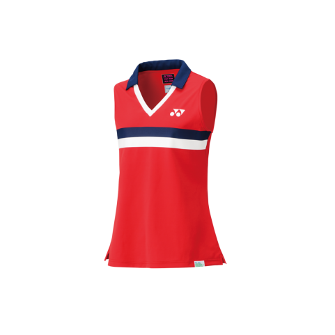 75TH Women's Sleeveless Polo Shirt 20627A [Ruby Red]